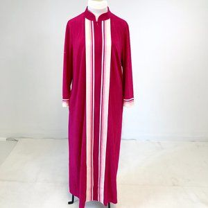 Vintage 70s OS Fuzzy Striped Long Robe Hot Pink
